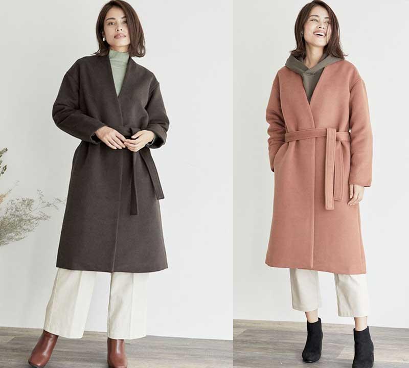 アウターの着痩せコーデ:濃い色で縦長タイプを選ぶ